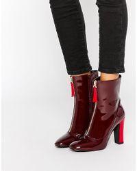 Public Desire - Metallic Alexa Red Patent Sock Boots - Lyst