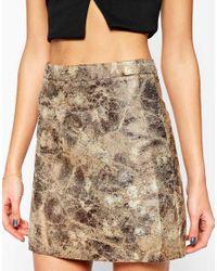 AX Paris   Metallic A Line Mini Skirt   Lyst