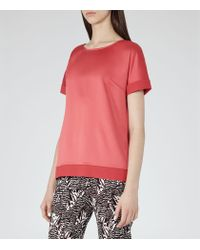 Reiss | Brown River Contrast-cuff Top | Lyst