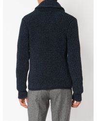 RRL - Blue Ribbed Classic Cardigan for Men - Lyst