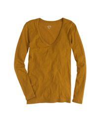 J.Crew - Brown Vintage Cotton Long-sleeve Scoopneck T-shirt - Lyst