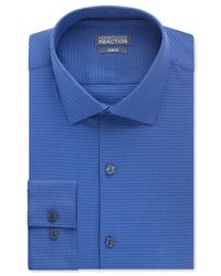 Kenneth Cole Reaction - Blue Slim-fit Petrol Textured Solid Performance Dress Shirt for Men - Lyst