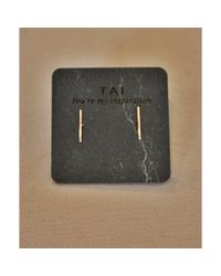 Tai | Metallic Rose Gold Staple Earring | Lyst