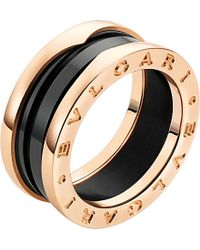 BVLGARI | Black B.zero1 18ct Pink-gold And Ceramic Ring | Lyst