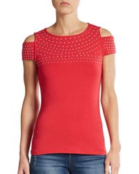 Saks Fifth Avenue Black Label | Red Studded Cutout Jersey Top | Lyst