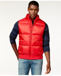 Tommy Hilfiger - Red Full-zip Puffer Vest for Men - Lyst