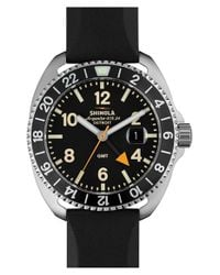 Shinola - Black 'rambler' Dual Time Rubber Strap Watch for Men - Lyst