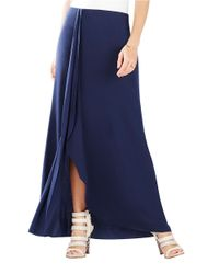 BCBGMAXAZRIA | Blue Logan Essential Knit Ruffle-Front Maxi Skirt | Lyst