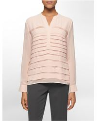 Calvin Klein | Pink White Label Mandarin Collar Pleated Chiffon Top | Lyst