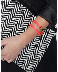Orelia - Orange Neon Leather Wrap Bracelet - Lyst