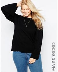 ASOS | Black Jumper With Wide Sleeve In Cashmere Mix | Lyst
