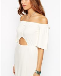 ASOS - Black Maxi Dress With Off Shoulder And Cut Out Waist - Lyst