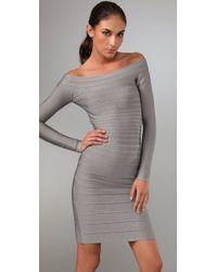 Hervé Léger | Gray Signature Essential Long Sleeve Cocktail Dress | Lyst