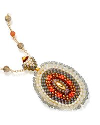 Miguel Ases - Orange Exclusive Opalite Beaded Chain With Pendant - Lyst