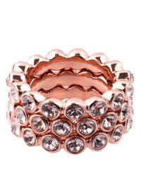 Givenchy | Pink Rose Goldtone And Crystal Stackable Ring Set | Lyst