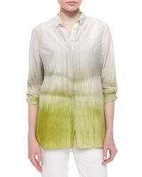 Elie Tahari - Natural Carly Printed Pleated-back Blouse - Lyst