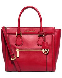 Michael Kors | Red Michael Colette Zip Large Satchel | Lyst