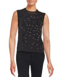 DKNY | Black Bead Embellished Shell | Lyst