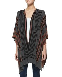 Cynthia Vincent | Gray Striped Open-front Poncho | Lyst