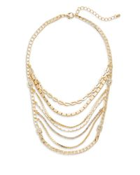 Saks Fifth Avenue | Metallic Multi-strand Chain Bib Necklace | Lyst