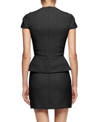 Alexander McQueen - Black Cap-sleeve Peplum-waist Dress - Lyst