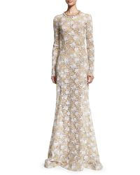 Oscar de la Renta - White Long-sleeve Guipure Lace Gown - Lyst