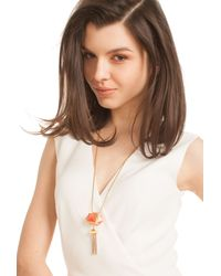Trina Turk - Orange Fringe Long Pendant - Lyst