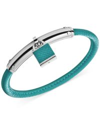 Michael Kors | Blue Smooth Leather Padlock Bangle Bracelet | Lyst
