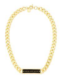 Marc By Marc Jacobs - Chunky Enamel Id Necklace Blackgolden - Lyst