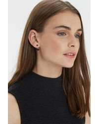 Oasis - Black Crystal Front To Back Earrings - Lyst