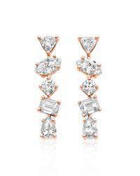 Kimberly Mcdonald - Metallic 18k Rose Gold Mixed Diamond Bar Earrings - Lyst