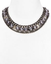 "T Tahari - Gray Layered Chain Necklace, 17"" - Lyst"