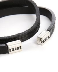 DIESEL | Black Logo Leather Bracelet for Men | Lyst