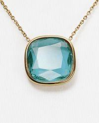 """Michael Kors - Blue Stone Pendant Necklace, 16"""" - Lyst"""
