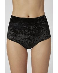 TOPSHOP | Black Velvet High Waisted Knicker | Lyst