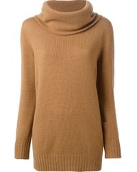 Agnona - Natural Cowl Neck Sweater - Lyst