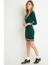Forever 21 | Green Varsity-striped Sweater Dress | Lyst