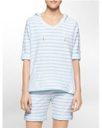 Calvin Klein | Blue White Label Performance Textured Stripe High Low Roll-up Sleeve Pullover | Lyst