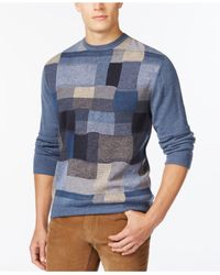 Weatherproof - Blue Box Patchwork Sweater for Men - Lyst
