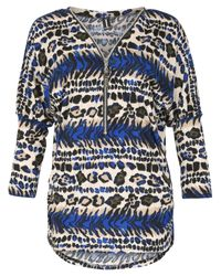 Izabel London | Blue Oversized Animal Print Top | Lyst