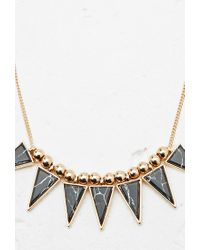Forever 21 | Black Faux Stone Statement Necklace | Lyst