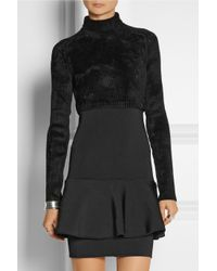 Issa - Black Coral Chenille And Stretch-Jersey Mini Dress - Lyst