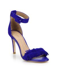 Joie | Blue Pippi Fringed Suede Sandals | Lyst
