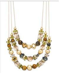 INC International Concepts | Metallic Gold-tone Genuine Tiger's Eye Bead Triple Row Illusion Necklace | Lyst