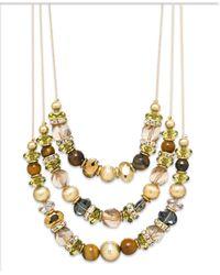 INC International Concepts - Metallic Gold-tone Genuine Tiger's Eye Bead Triple Row Illusion Necklace - Lyst