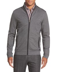 BOSS - Gray 'cannobio 75' Regular Fit Full Zip French Terry Sweatshirt for Men - Lyst