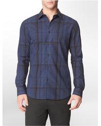 b137b094b39 Calvin Klein. Men s Blue White Label Slim Fit Micro Cross Check Cotton Dobby  Shirt