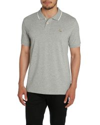 Paul Smith | Gray Slim Fit Tipped Collar Logo Polo Shirt for Men | Lyst
