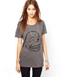 Cheap Monday | Gray Flirt Skull Tshirt | Lyst