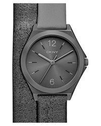 DKNY | Gray 'parsons' Leather Strap Watch | Lyst